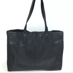 Tory Burch Black Leather Tote Bag Half T Logo